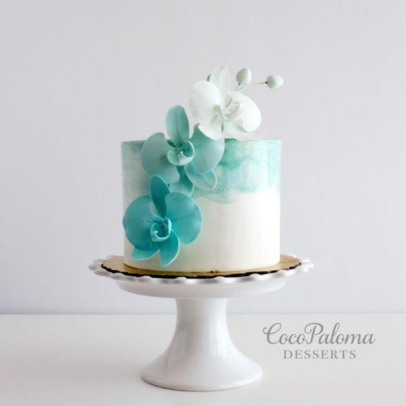https://flic.kr/p/GsnuKk | Teal ombré orchids cake