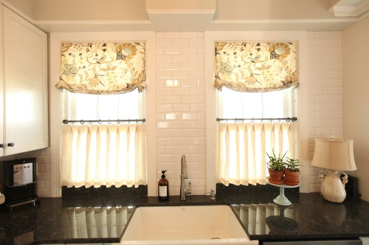 White subway tile roman shades cafe curtains black for Roman shades that hang from a curtain rod