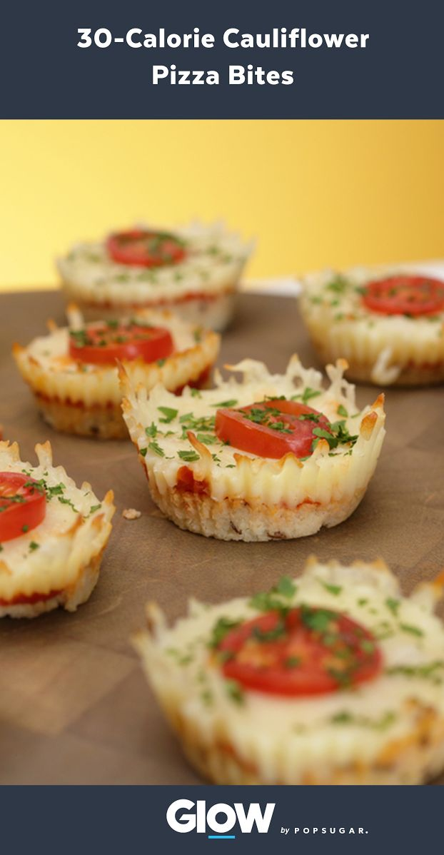 "At only 30 calories a pop, these cauliflower pizza bites have us asking, ""Is there anything cauliflower can't do?"""