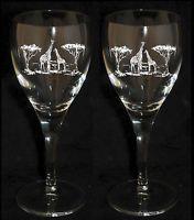 *GIRAFFE GIFT*   Boxed PAIR WINE GLASS / GLASSES with GIRAFFE SCENE