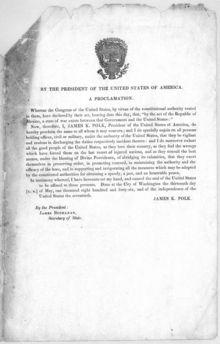 Polk's presidential proclamation of war against Mexico