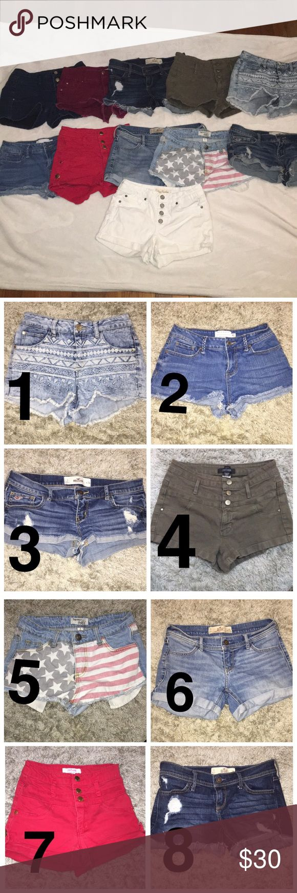 3 for $30 shorts Pick any three shorts you want and comment the assigned numbers for the shorts below !!💗 I will make a separate post for you.  If you wanna just buy the shorts separately there are already separate listings up.  Also if you want more information about the shorts and the sizes they are posted on their separate post on my account Shorts