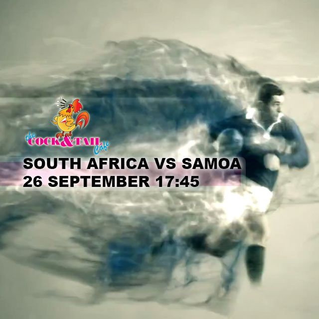 South Africa vs Samoa live at The Cock & Tail Café #RWC2015 @rugbyworldcup http://bit.ly/1Ksb8fZ