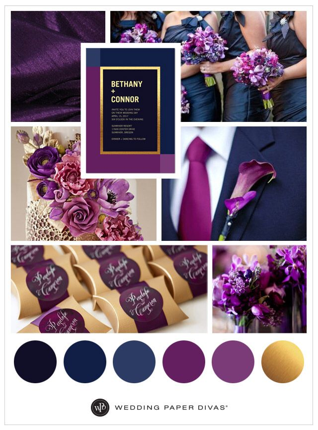 Purple Satin Linen: Satin tablecloths in deep purple add a stylish start to your reception tablescape. Bridesmaids: Deep Navy bridesmaids dresses with a bouquet assortment of multicolored calla lilies, snow pea and hydrangea purple flowers. Cake: Glamorous gilded doily pattern with deep-purple sugar flowers. Groom: Blue tuxedo with eggplant calla lily. Gift Tag Stickers: These Wedding Paper Divas gift tags are adhesive and can be personalized with the bride and grooms name on favors and gift