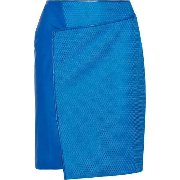 Reed Krakoff Leather-paneled mesh skirt (570 BRL) ❤ liked on Polyvore featuring skirts, cobalt blue, real leather skirt, cobalt blue skirt, reed krakoff, blue leather skirt and mesh skirt