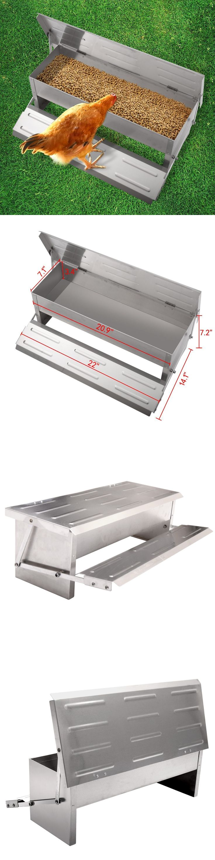 Backyard Poultry Supplies 177801: Chicken Feeder Automatic Aluminium Feed Chook Poultry Auto Treadle Self Opening -> BUY IT NOW ONLY: $32.99 on eBay!