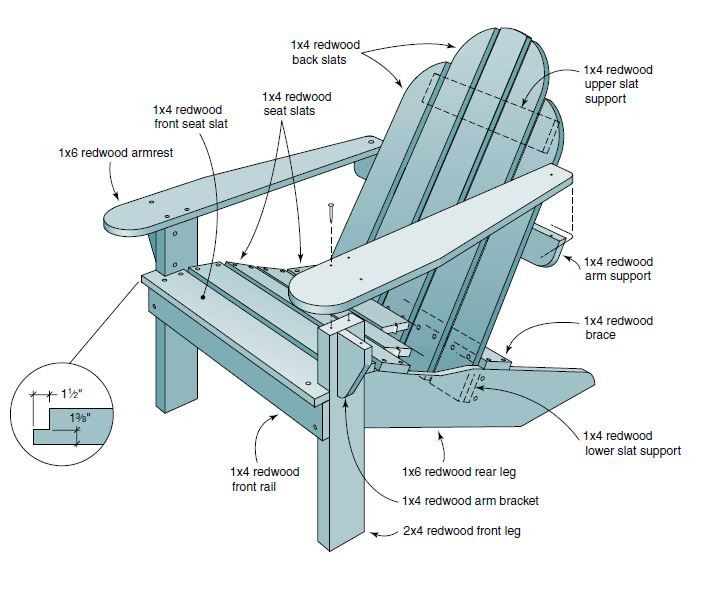 Wooden Outdoor Lounge Chair Plans - Downloadable Free Plans