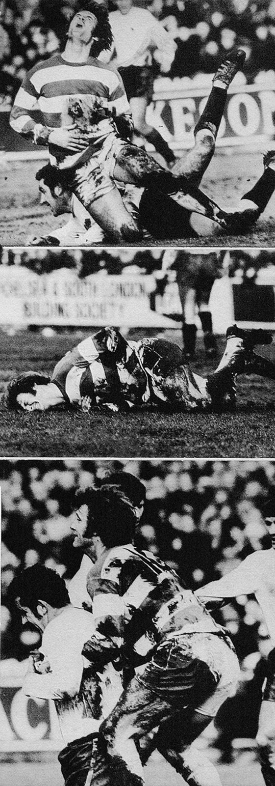 7th February 1970. Queens Park Rangers playmaker Rodney Marsh finding that Derby County hard man Dave Mackay had lost none of his bite in an FA Cup 5th Round, at Loftus Road