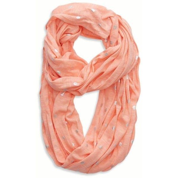 Aerie Shine Dot Loop Scarf (31 BRL) ❤ liked on Polyvore featuring accessories, scarves, orange julius, orange shawl, metallic shawl, american eagle outfitters, infinity scarves and circle scarves