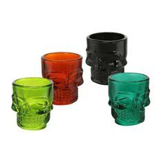 These would be really cool with some teelights in them. Set of 4 Skull Shot Glasses $7.99 #gordmans #halloween #skulls