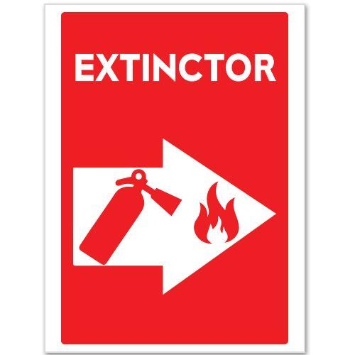 Indicator Extinctor (in caz de incendiu)    Indicator care indica prin sageata (sus, jos, dreapta, stanga) locul unde se afla EXTINCTORUL ce trebuie folosit in caz de incendiu.  Indicatorul este realizat din material PVC.