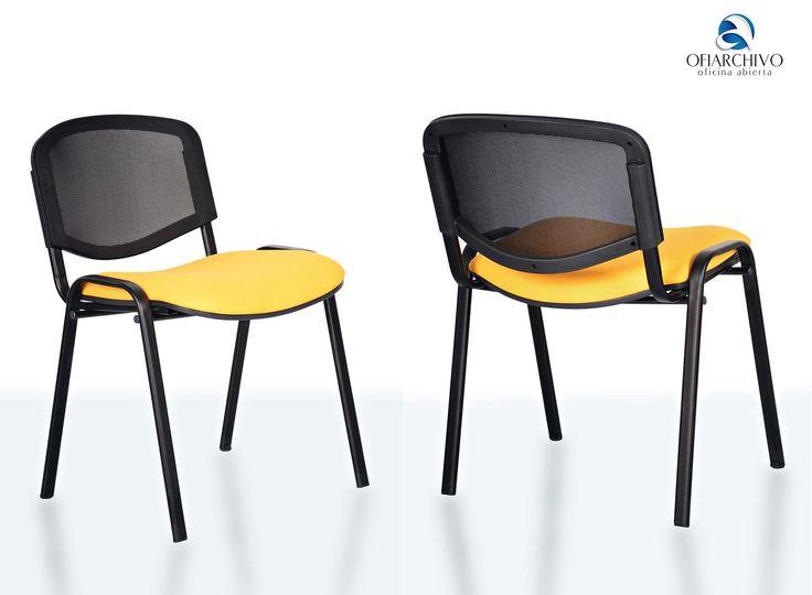 silla interlocutora con espaldar en malla y asiento