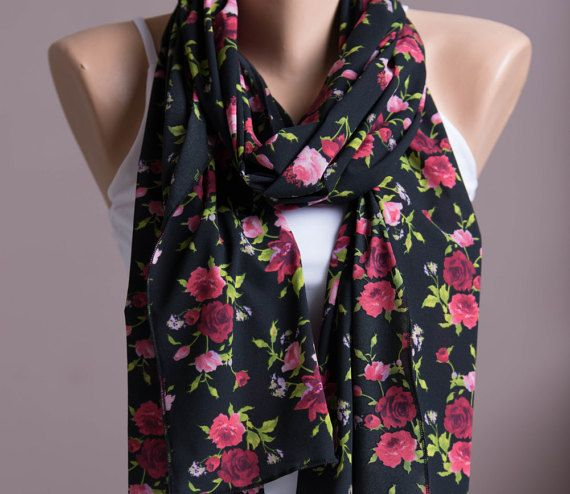 Roses Print Summer Scarf,Spring Scarf,Infinity Scarf,Lightweight Shawl,Scarves For Women,Fashion Accessories,Womens Scarves,Gift For Her
