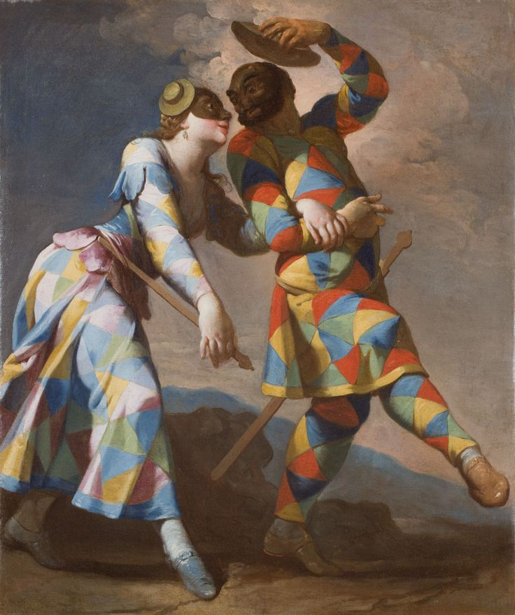 Harlequin and his Lady (c.1740). Giovanni Domenico Ferretti (Italian, 1692-1768). Oil on canvas. Galleria Canesso Lugano.