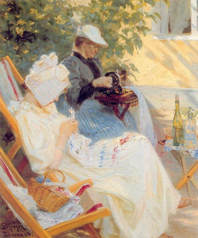 Marie and Her Mother in the Garden - Peder Severin Kroyer, 1891