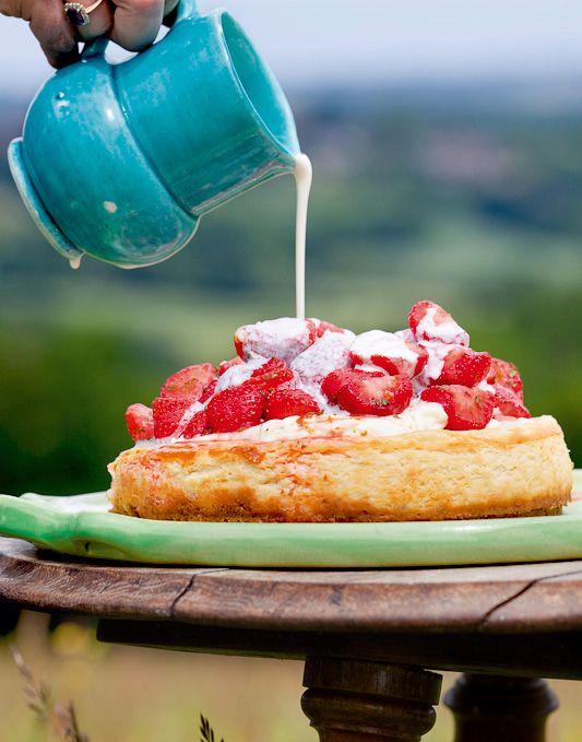 Baked Vanilla And Lemon Cheesecake With Marinated Strawberries
