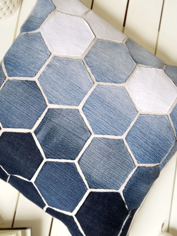 Jean Hexagon Pillow - don't throw away those old jeans! You can make this awesome Pillow using them. SO CUTE!
