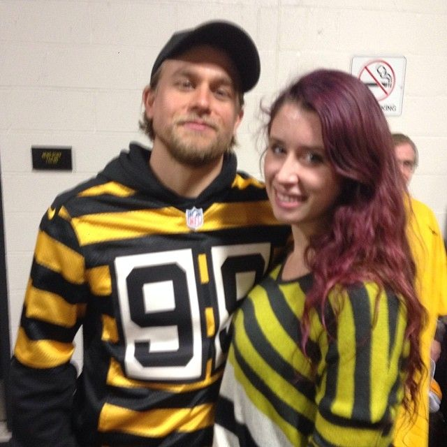 Charlie Hunnam at Heinz Field in Pittsburgh, PA on 11.17.2013 for the Steelers VS Lions game here with a fan