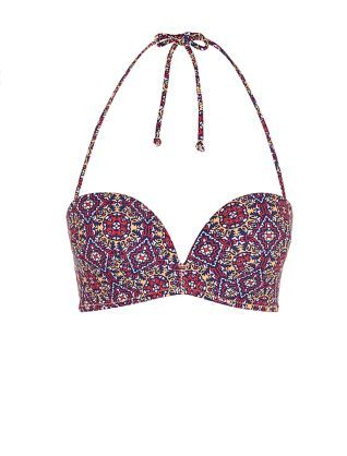 For a style that says 'well-travelled', look no further than this Multi Coloured Tile Print Extreme Push Up Bikini Top.