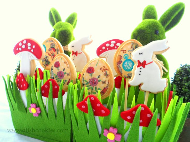 Easter woodland cookies. Toadstools, rabbits and decorated eggs all designed and made by www.dlishcookies.com cookie cutters available also.