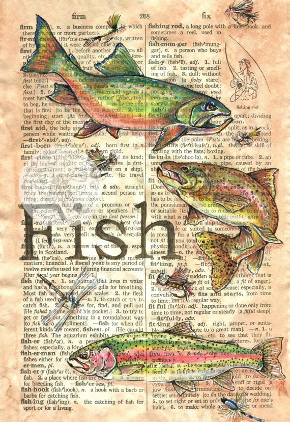 PRINT:  Fish Mixed Media Drawing on Antique Dictionary