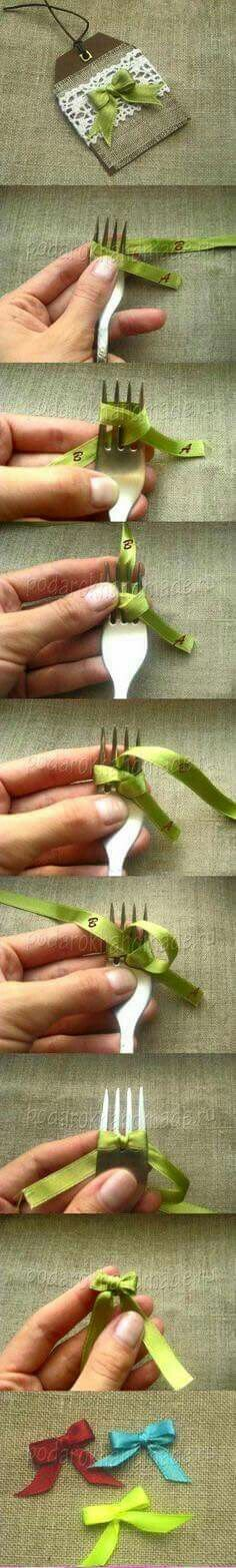 Use a fork to make perfect tiny bows. Scroll down to #16 for photo illustration.