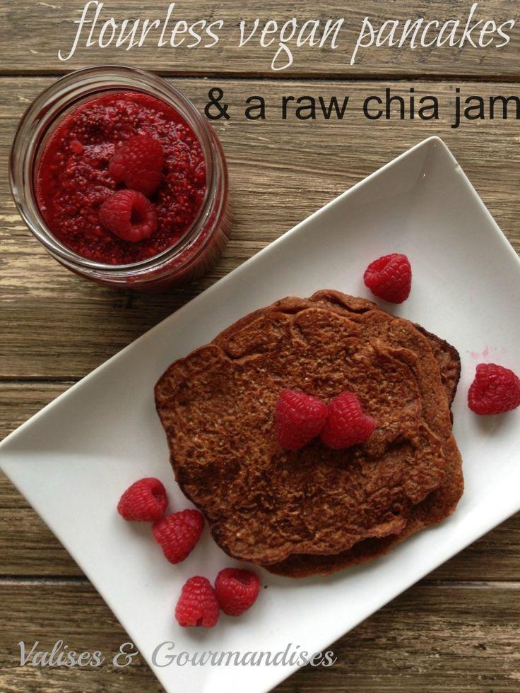 raw vegan pancakes with a raw chia jam