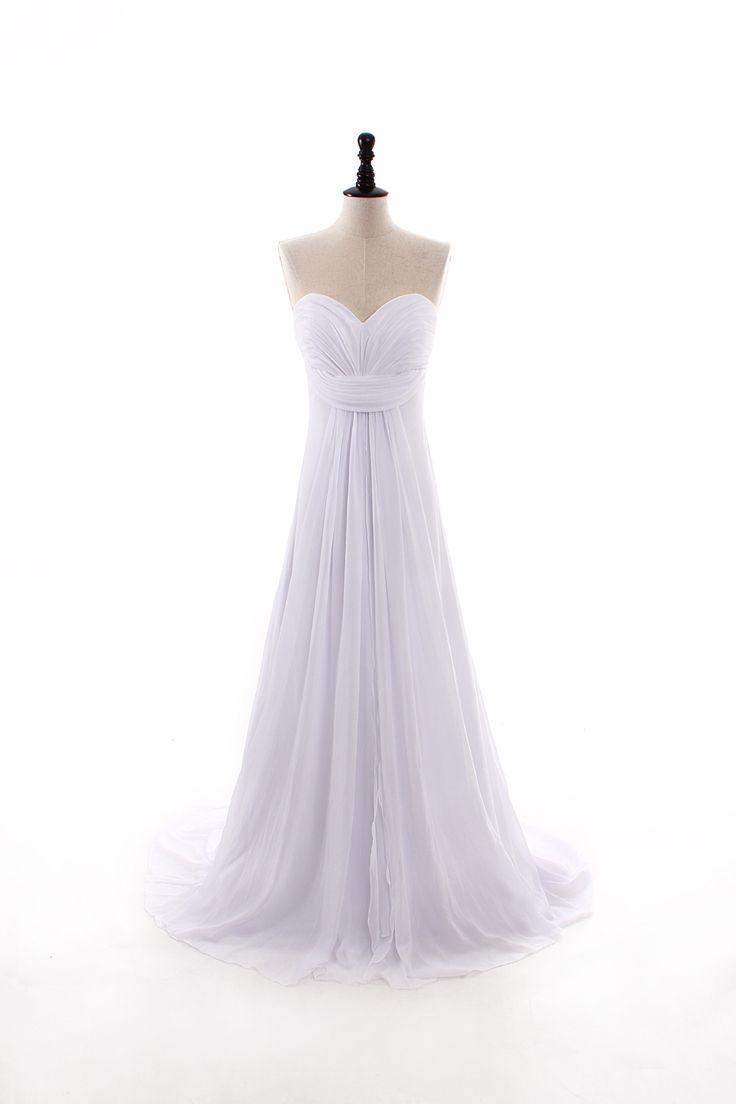 Pretty sleeveless sheath / column floor length wedding dress
