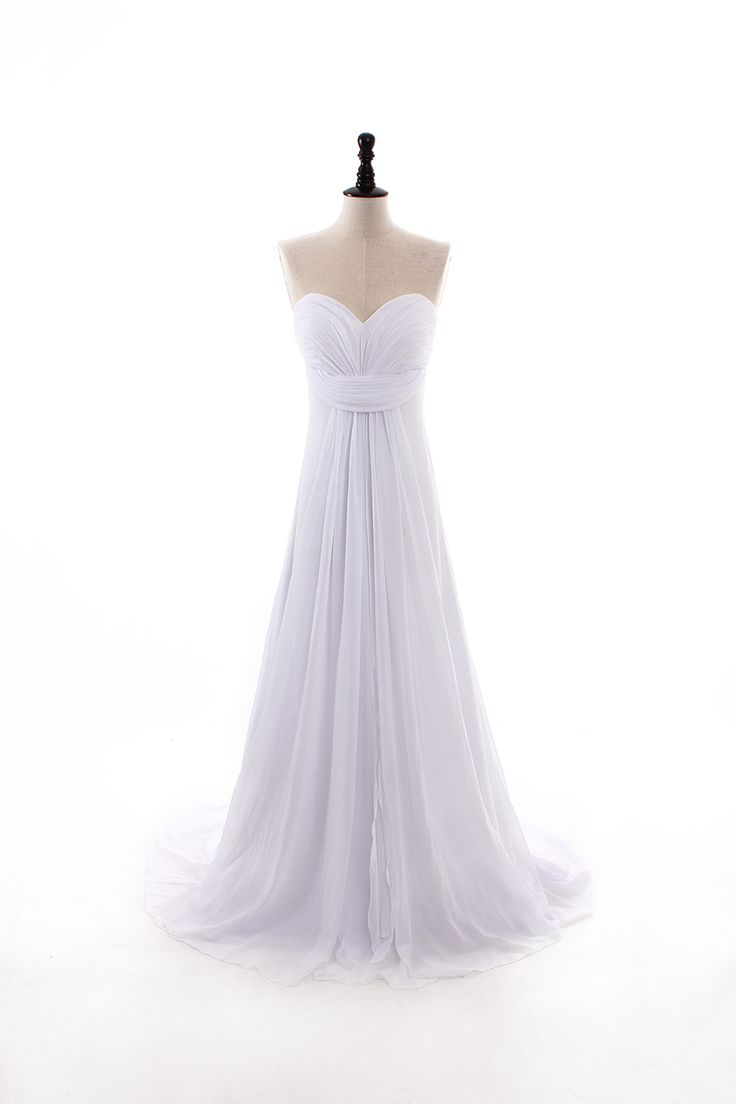 Pretty sleeveless sheath / column floor length wedding dress