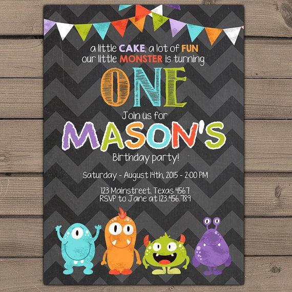 Little Monster birthday invitation Monster door Anietillustration