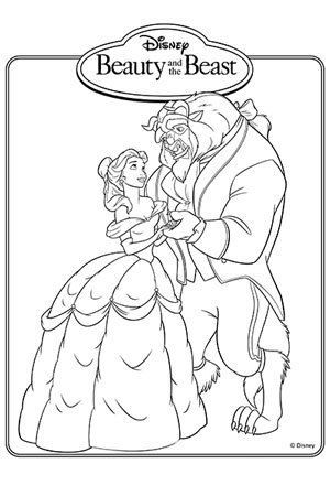 Belle And Beast Dancing Colouring Page