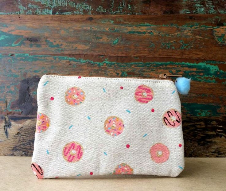 Pouch - Handmade Pouch - Block Printed Pouch - Beige Cotton Pouch - Doughnuts Print Pouch - Colourful Doughnuts by UniqueLulu on Etsy