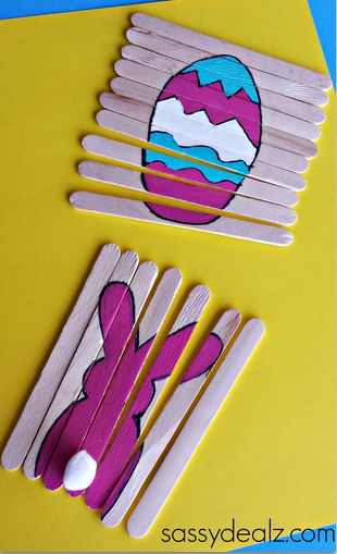 Paint a Easter picture of a bunny or an egg on popsicle sticks to make fun puzzles for kids!