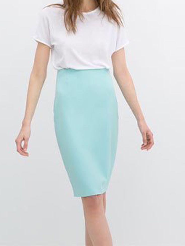 Blue High Waist Pencil Skirt - Fashion Clothing, Latest Street Fashion At Abaday.com