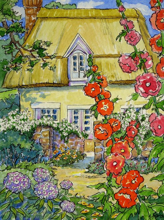Set of 5 Storybook Cottage vintage inspired Note Cards from Original Watercolors  Alida Akers