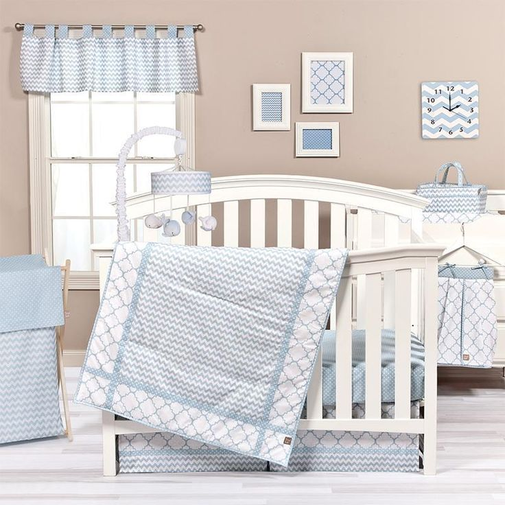 Simply sweet and classically charming. Trend Lab's Blue Sky 3 Piece Crib Bedding collection combines classic quatrefoil and polka dots with trendy chevron stripes in a soothing color palette of skyway blue and crisp white. Blue Sky offers lovely subtlety and classic styling, making this collection suitable for any nursery. Set includes: Quilt, skirt and sheet. Reversible 100% cotton quilt measures 35 in x 45 in and features chevron stripes framed by quatrefoil and polka dots in skyway blue…