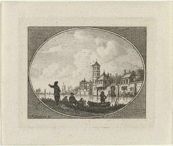 Carel Frederik Bendorp (I) | Gezicht op een stad aan een rivier, Carel Frederik Bendorp (I), c. 1765 - c. 1814 | Prent uit een serie met riviergezichten. In een ovaal kader een gezicht op een rivier met langs de rivieroever gelegen huizen. Op de voorgrond drie figuren en op rivier een figuur in een bootje. In liggend ovaal.