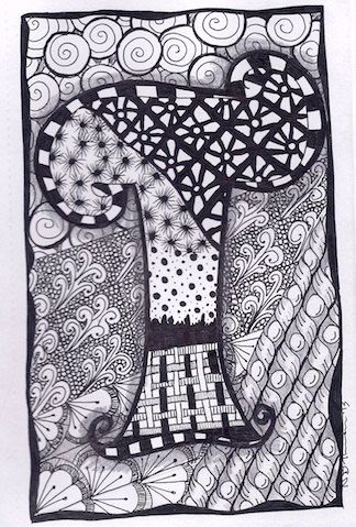Zentangle, Letter T, Zebra Letters, name, bunting, alphabet