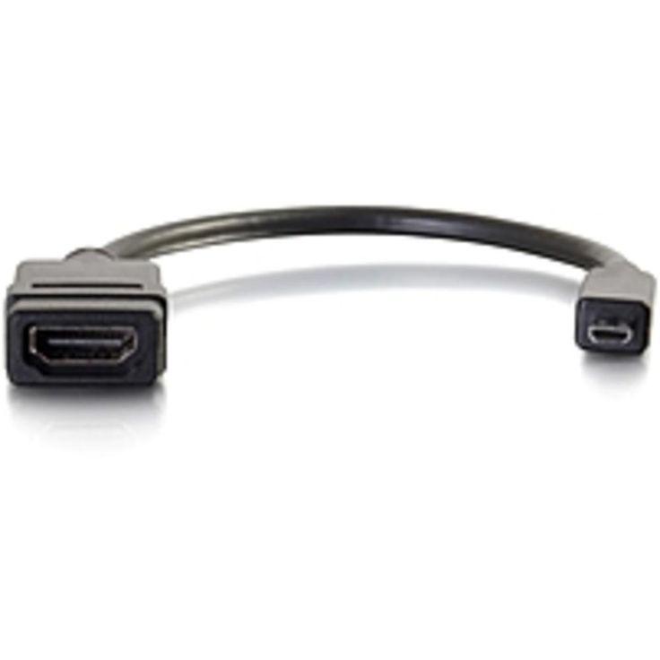 C2G 8in Micro HDMI to HDMI Adapter - Micro HDMI Adapter - Male to Female Black - HDMI-Micro HDMI for Audio-Video Device - 1 x HDMI (Micro Type D) Male Digital Audio-Video - 1 x HDMI Female Digital
