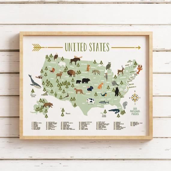 Kids National Park Map, Printable JPG files, National Park Maps, 4 printing files, Kids Room, Nurser