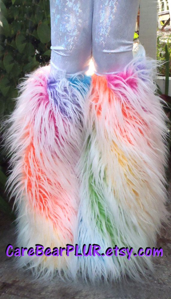 Fluffies- Frosted Unicorn Cupcakes- Pastel Rainbow, Frosted Fur, UV Reactive, Furry Boot Covers, Go Go Dancer on Etsy, $60.00
