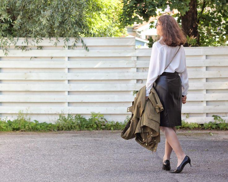 black leather skirt green parka
