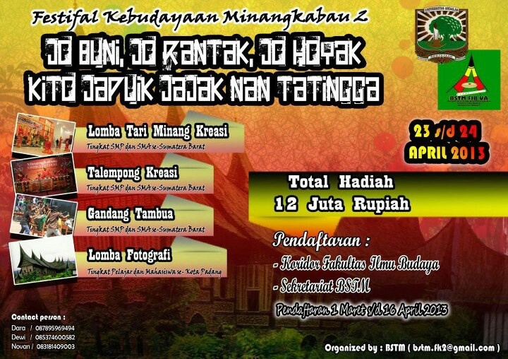 Festival Kebudayaan Minangkabau 2 :: 23-24 April 2013 :: Cp : BSTM UNAND