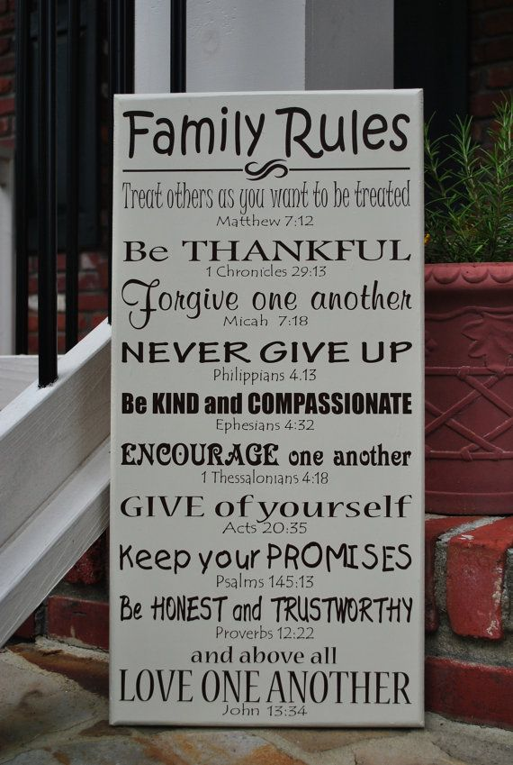 """Family Rules with bible verses 12""""x24"""" Love sharing all the new stuff here on Pintrest!! Christy Tusing Borgeld"""