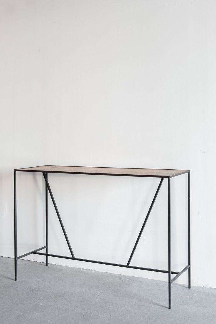 Croft House Console Table-Arden Oak + Industrial Steel