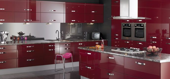 Burgundy Kitchen In 2019 Red Kitchen Cabinets Gloss