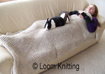 Round Loom Knitting Projects | For this afghan, I used 8 skeins of Lion Brand Wool Ease Thick and ...