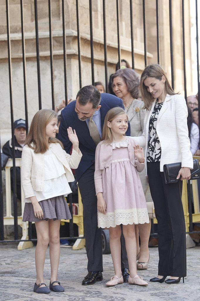 Infanta Leonor, Princess of Asturias, Don Felipe VI, Infanta Sofía, Doña Sofía, and Doña Letizia. Spanish Royals Attend Easter Mass in Palma de Mallorca on April 5, 2015