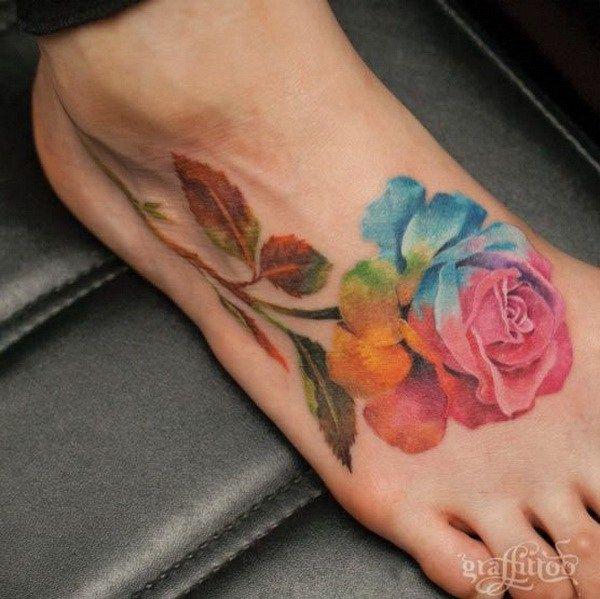 50 Elegant Foot Tattoo Designs For Women For Creative Juice Rainbow Tattoos Pretty Flower Tattoos Foot Tattoos
