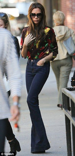 Victoria Beckham was pictured on Monday in New York wearing a pair of flares